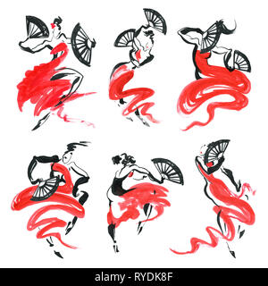 Flamenco. Beautiful Dancing Woman. Watercolor latin dancer. Ink hand painting illustration. - Stock Photo