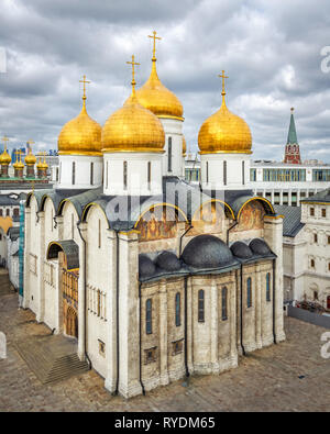 Moscow, Russia - August 31, 2012: Aerial view to Dormition Cathedral. - Stock Photo