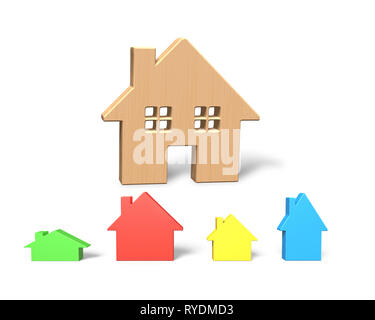 3D illustration, big wooden house with four colorful small houses, isolated on white. - Stock Photo
