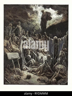 The Vision of the Valley of Dry Bones, Ezekiel by Gustave Doré, 1832 - 1883, French. 1870, Art, Artist, Romanticism, Colour, Color Engraving, Becoming Alive, Bone, Dead, Death, Ezechiel, Metamorphosis, Prophet, Prophetic, Resurrection, Romantic, Skeleton, Vision - Stock Photo