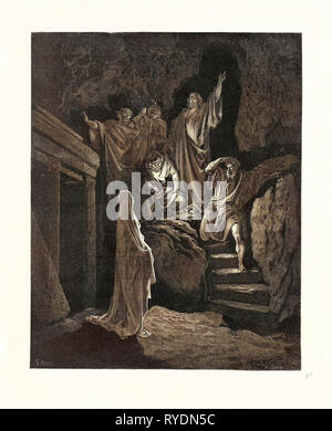 The Resurrection of Lazarus, by Gustave Dore, 1832 - 1883, French. Engraving for the Bible. 1870, Art, Artist, Holy Book, Religion, Religious, Christianity, Christian, Romanticism, Colour, Color Engraving - Stock Photo