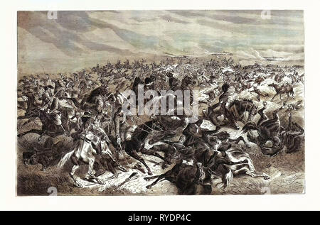 Franco-Prussian War: Rapid Fire of the Prussian Infantry Riders against the French Cavalry, the Battle of Sedan, September 1 1870 - Stock Photo