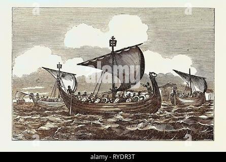 Ships of William the Conqueror 1066 - Stock Photo