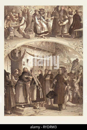 Traditional Hungarian Wedding, Hungary, 19th Century, Bride, Groom, Man, Woman, Food and Drink, Folk Dress, Village, Wedding Guests, Liszt Gourmet Archive - Stock Photo
