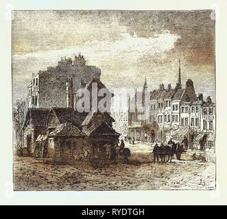 The North of London, Highgate High Street, Engraving 1876, UK, Britain, British, Europe, United Kingdom, Great Britain, European - Stock Photo