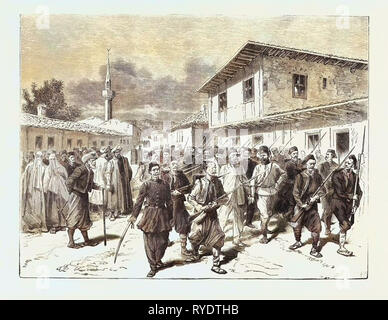The War: A Party of Insurgents Being Conducted to Prison by the Turks, Engraving 1876 - Stock Photo