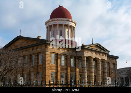Exterior of the Old Capitol Building on a Spring morning.  Springfield, Illinois, USA. - Stock Photo