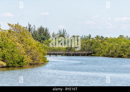 Sanibel Island, USA Bowman's beach with landscape view of Bayou from bridge and wooden boardwalk with nobody on river bay - Stock Photo
