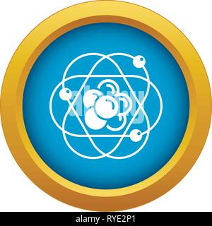 Atom molecule icon blue vector isolated - Stock Photo
