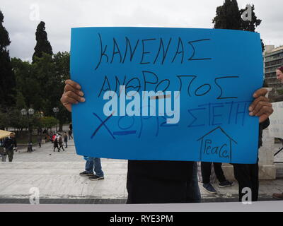 Athens, Greece. 13th Mar, 2019. Refugees and supporters demonstrate In Athens against the possible eviction from their house after the end of a program that funded their housing. Credit: George Panagakis/Pacific Press/Alamy Live News - Stock Photo