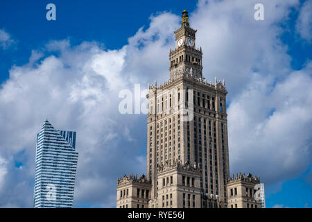 The Palace of Culture or 'Palac Kultury' in downtown Warsaw, Poland, an example of the Socialist Realist architectural style - Stock Photo