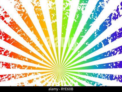 Grunge sunrise background - rainbow - Stock Photo