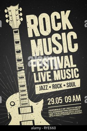 Vector Illustration poster flyer design template for Rock Jazz festival live music event with guitar in retro style on red background - Stock Photo