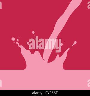 Strawberry or Raspberry Milk, or Milkshake Splash with Pour, flat graphic vector illustration on dark red background. - Stock Photo