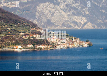 The village of Carzano on Monte Isola in the Iseo lake, Lombardy, Italy - Stock Photo