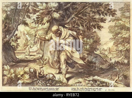 Teiresias stores in a forest two mating snakes. Then he turned into a woman. Seven years later he changed back into a man again after two mating snakes have beaten, part of a series of 52 prints that depict stories from Ovid's Metamorphoses, print maker: Hendrick Goltzius (workshop of), Dating 1615 - Stock Photo