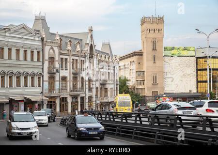 TBILISI, GEORGIA - SEPTEMBER 22, 2018: View of Tbilisi, thoroughfare Pushkin street with heavy traffic - Stock Photo