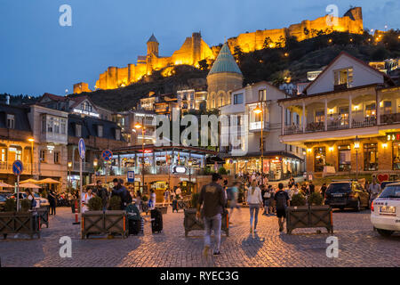 TBILISI, GEORGIA - SEPTEMBER 22, 2018: Evening night scenic view of Vakhtang Gorgasali Square. Popular place for locals and tourists - Stock Photo
