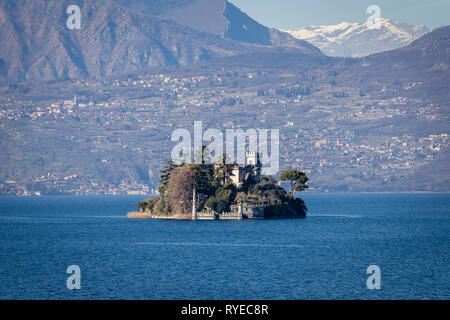 Loreto isle on Iseo lake, Lombardy, Italy - Stock Photo