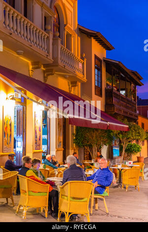 Restaurant, Puerto de la Cruz, Tenerife, Canary Islands, Spain, Atlantic Ocean, Europe, - Stock Photo