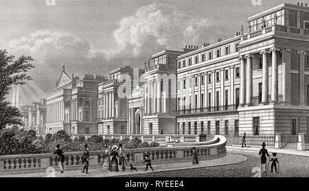 Cumberland Terrace, Regent's Park, London, UK, illustration by Th. H. Shepherd, 1826 - Stock Photo