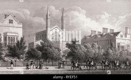 Royal Hospital Of St Katherine, Regent's Park, London, UK, illustration by Th. H. Shepherd, 1826 - Stock Photo