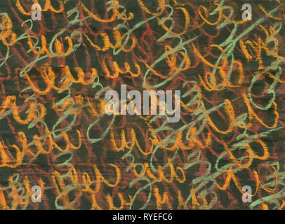 Abstract orange word and letter on brown background, grunge texture old wall with grey surface. Watercolor brush on paper. - Stock Photo