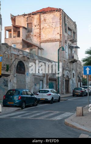 Ottoman Architecture in Jaffa. This soon to be renovated building was built during the Turkish rule in Israel / Palestine - Stock Photo