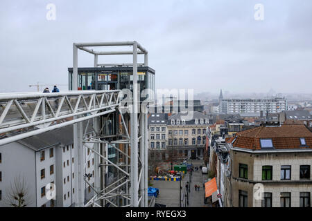 02.03.2019, Brussels, Belgium - the small Place Brueghel below the Palais de Justice in the Quartier des Marolles, the neighborhood of the little peop - Stock Photo