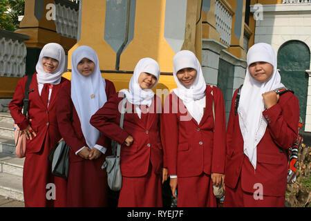 Muslim Girls In Medan, Sumatra - Stock Photo