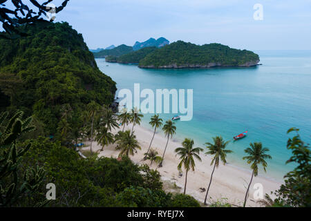 Above view of the main beach and dock of Ko Wua Talap island in Ang Thong national marine park, thailand - Stock Photo
