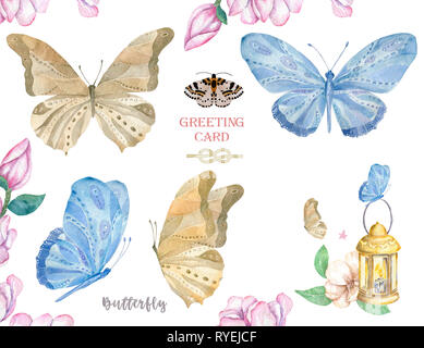 Set of watercolor butterfly. Vintage summer isolated spring art. Watercolour illustration. design wedding card, insect, flower beauty banner. Unusual  - Stock Photo