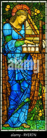 Saint Cecilia, stained glass window c. 1900 by Sir Edward Burne-Jones and William Morris. Manufactured by Morris & Co. - Stock Photo