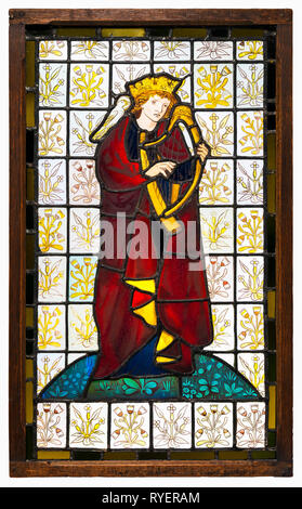 King David the Poet, stained glass window, 1863 by Sir Edward Burne-Jones and William Morris - Stock Photo
