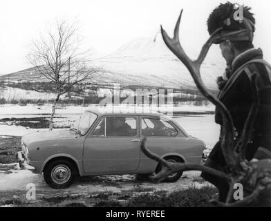 transport / transportation, car, vehicle variants, Fiat 850 in Lapland 1964, Additional-Rights-Clearance-Info-Not-Available - Stock Photo