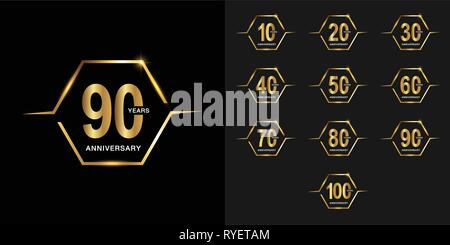Set of anniversary logotype. Golden anniversary celebration emblem with firework. Design for company profile, booklet, leaflet, magazine, brochure pos - Stock Photo