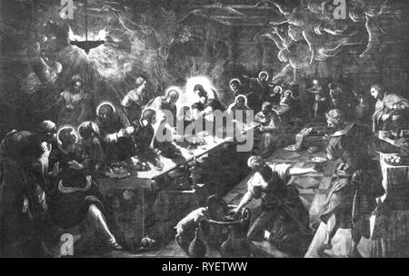 religion, Christianity, Jesus Christ, supper, 'The Last Supper', painting by Jacopo Tintoretto (1518 - 1594), 1592 - 1594, Artist's Copyright has not to be cleared - Stock Photo