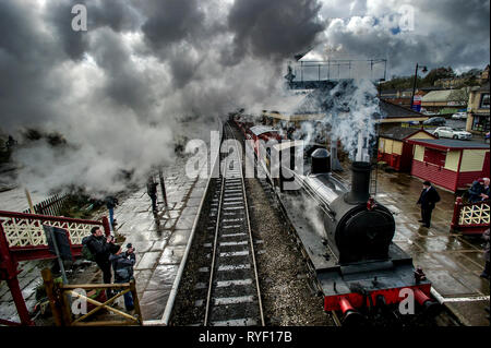 Lancashire, UK, Sunday March 10, 2019. The annual East Lancashire Railway Spring Steam Gala attracted bumper crowds of rail enthusiasts from all over  - Stock Photo