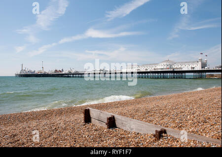 Brighton Palace Pier in the coastal town of Brighton, Sussex, England. - Stock Photo