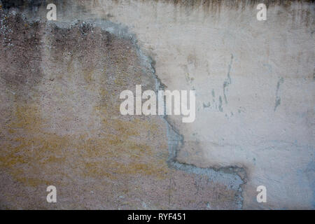 Abstract background cracked in the middle, split in two different textures. Gray concrete wall, cement grunge seamless pattern. Rock structure divided - Stock Photo