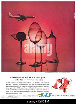 1964 U.S. advertisement for SAS, Scandinavian Airlines System. - Stock Photo