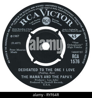 UK 45 rpm single of Dedicated To The One I Love by The Mamas And The Papas on the RCA Victor label from 1967. Written by Lowman Pauling and Ralph Bass and produced by Lou Adler. - Stock Photo