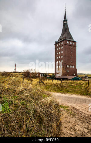 North Sea island Wangerooge, the west tower, today a youth hostel,East Frisia, Northern Germany, North Sea Coast, - Stock Photo
