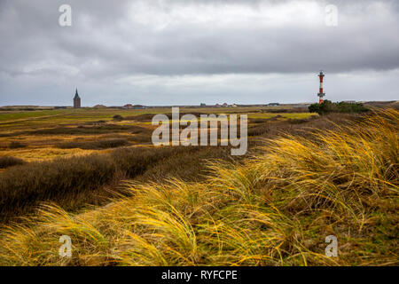 Island Wangerooge, East Frisia, marsh landscape, salt marshes, in the west of the island, new lighthouse, west tower, East Frisia, Northern Germany, N - Stock Photo