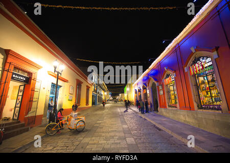 Oaxaca, Mexico-1 December, 2018: Scenic old city streets and colorful colonial buildings in historic city center - Stock Photo