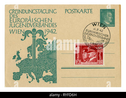 German historical postal card: Day of Foundation of the European youth organization. Young tree growing from the center of the map of Europe. Germany, - Stock Photo