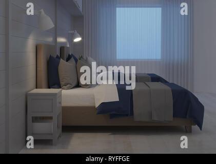 Children's room. Night lighting. 3D rendering. - Stock Photo