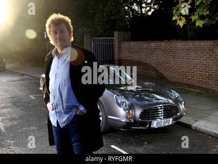 Author Sebastian Faulks with the David Brown Speedster car - Stock Photo