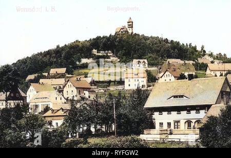 Observation towers in Ústí nad Labem Region, Buildings in Varnsdorf, 1910, Ústí nad Labem Region, Warnsdorf, Burgbergwarte, Czech Republic - Stock Photo