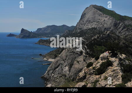 View on giant cliff from Genoese fortress Sudak, Ukraine, Crimea, Europe - Stock Photo